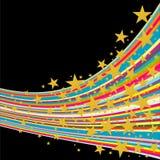 Strisce di colore con le stelle dorate Fotografia Stock Libera da Diritti