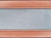 Strisce di cuoio con il tessuto di grey del tweed Immagine Stock Libera da Diritti