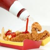 Strisce e fritture del pollo Immagine Stock
