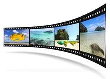 striscia della pellicola 3D con le maschere piacevoli Fotografie Stock Libere da Diritti