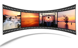 striscia della pellicola 3D con le maschere piacevoli Fotografie Stock