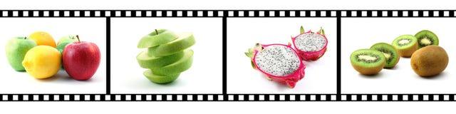 Striscia della pellicola con l'accumulazione della frutta Fotografia Stock Libera da Diritti