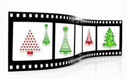 Striscia della pellicola dell'albero di Natale Fotografia Stock