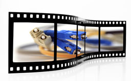 Striscia della pellicola della rete della fibra Fotografie Stock Libere da Diritti