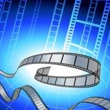 Striscia della pellicola su priorità bassa blu Immagini Stock Libere da Diritti