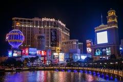 Striscia di Las Vegas entro Night Immagini Stock Libere da Diritti