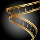 Striscia di pellicola dell'oro Fotografia Stock