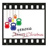 Striscia di pellicola della cartolina di Natale con i kettlebells Immagini Stock Libere da Diritti