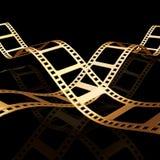 Striscia dorata della pellicola due 3d Fotografia Stock Libera da Diritti