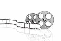 Striscia e bobine in bianco della pellicola Fotografie Stock Libere da Diritti