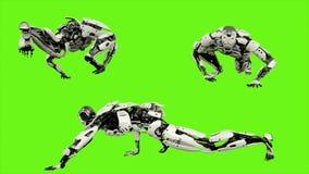 Strisciare di androide del robot Moto realistico sullo schermo verde rappresentazione 3d royalty illustrazione gratis