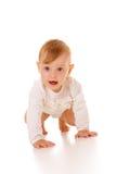 Strisciare sveglio della neonata Fotografie Stock