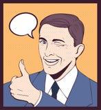Strizzatina d'occhio degli uomini di sorriso Immagini Stock Libere da Diritti