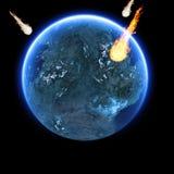 strking地球的陨石 免版税图库摄影