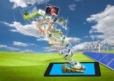 Ström av sparandeenergibilder från tabletPCen Royaltyfri Bild