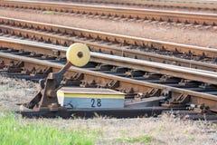 Strömbrytare på järnvägspår Arkivbilder