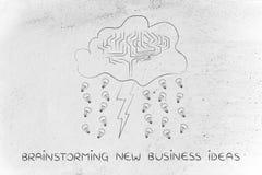 Stürmische Wolke mit Gehirn, Bolzen u. Regen von Ideen, Gedanklich lösen neu Lizenzfreies Stockbild