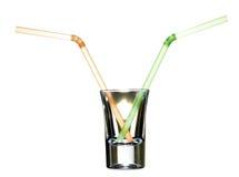 Stro in glas Royalty-vrije Stock Fotografie