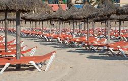 Stro parasols Royalty-vrije Stock Fotografie