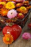 Strobloemen met hart Royalty-vrije Stock Fotografie