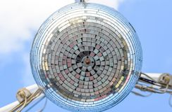 Stroboscope hanging on the wires. Stroboscope for a street. Disco royalty free stock images