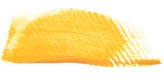 Strockes acrílicos amarelos da escova na escova artística suja da lona com alguma pintura nela imagens de stock royalty free