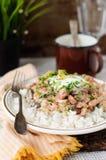 Stroganoff χοιρινού κρέατος με την ξινή κρέμα, τα φρέσκα πράσινα και τα τεμαχισμένα αγγούρια Στοκ Φωτογραφία