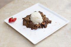 Stroganoff com arroz Fotografia de Stock
