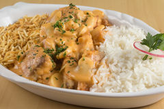 Stroganoff Fish with Rice Stock Image