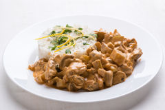 Stroganoff with rice Stock Image