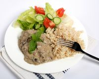 Stroganoff and rice horizontal Royalty Free Stock Image
