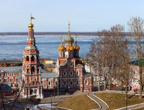 Stroganov church and belltower in Nizhny Novgorod Royalty Free Stock Image