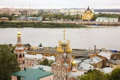 Stroganov Church and Cathedral Nevsky. Nizhny Novgorod in Russia Royalty Free Stock Photography