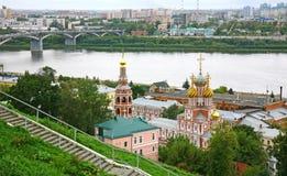 Stroganov church with mosaic domes in Nizhny Novgorod. Russia Royalty Free Stock Images