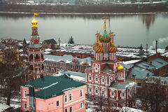 Stroganov Church in Nizhny Novgorod. Aerial view of Stroganov Church and river Oka in Nizhny Novgorod, Russia in winter Stock Images