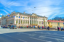 The Stroganov Palace in St Petersburg. SAINT PETERSBURG, RUSSIA - APRIL 25, 2015: The Stroganov Palace is one of the oldest residences in city, located at the Stock Images