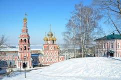 Stroganovskaya kościół w Nizhny Novgorod w zimie Zdjęcia Royalty Free