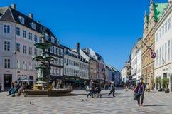 Stroget, Copenhague, Danemark images libres de droits