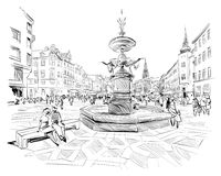 Stroget ulica copenhagen Dani europejczycy Ręka rysująca wektorowa ilustracja royalty ilustracja