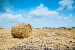 Stroh-Ballen auf Ackerland Lizenzfreie Stockfotos