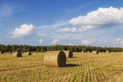 Stroh rollt auf Landwirtfeld im Sommer Lizenzfreie Stockfotos