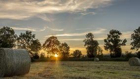 Strohballen auf Ackerland bei Sonnenuntergang mit Bäumen im Hintergrund Lizenzfreie Stockfotografie