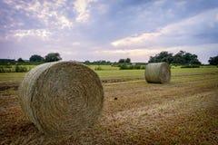 Strohballen auf Ackerland mit blauem bewölktem Himmel Stockbilder