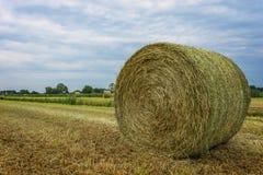 Strohballen auf Ackerland mit blauem bewölktem Himmel Stockfotos