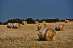 Strohballen auf Ackerland mit blauem Himmel Lizenzfreie Stockfotografie