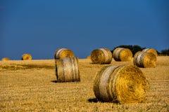 Strohballen auf Ackerland mit blauem Himmel Stockbild
