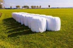 Strohballen verpackt im Weiß Stockfotos