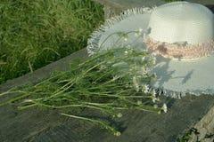 Strohhut, Lügen auf einer Holzbank mit einem Blumenstrauß der Feldkamille stockfoto