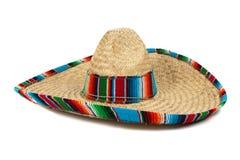 Strohmexikanischer Sombrero auf weißem Hintergrund Stockfotografie