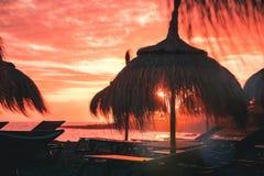 Strohstrandschirm bei korallenrotem Sonnenuntergang lizenzfreies stockfoto